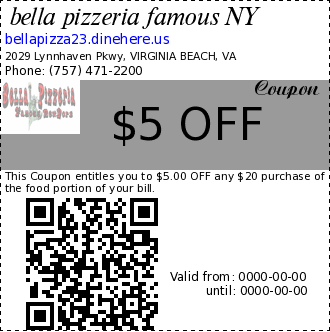 bella pizzeria famous NY $5 OFF Coupon. This Coupon entitles you to $5.00 OFF any $20 purchase of the food portion of your bill.