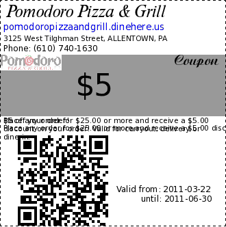 Pomodoro Pizza & Grill $5 Coupon. $5 off your order! 
