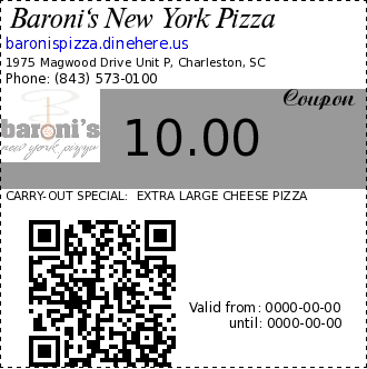 Baroni's New York Pizza 10.00 Coupon. CARRY-OUT SPECIAL:  EXTRA LARGE CHEESE PIZZA