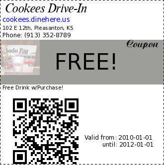 Cookees Drive-In FREE! Coupon. Free Drink w/Purchase!