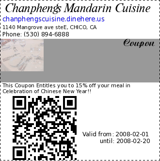 Chanpheng's Mandarin Cuisine  Coupon. This Coupon Entitles you to 15% off your meal in Celebration of Chinese New Year!!